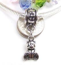 Teddy Bear Dangle Screw Threaded Stop Bead for Silver European Charm Bracelet