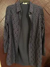 EQUIPMENT FEMME S/P DARK BLUE FLORAL LACE BUTTON DOWN SHIRT/DRESS 100% COTTON
