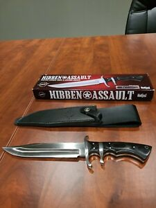 "Hibben Assault Combat Knife 7.5"" 7Cr17 Steel Full Tang Trigger Grip Handle"