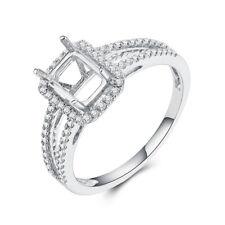 Emerald/Cushion 7X5mm 0.3CT Diamonds Semi Mount Engagement Ring 14K White Gold