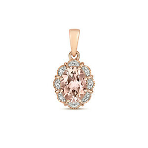 Morganite and Diamond Oval Pendant Rose Gold Necklace Hallmarked