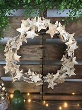 Rustic Wooden Birch Star Wreath Hanging Christmas Wedding Woodland Decoration