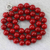 Fashion red coral stone round beads 10mm jewelry necklace18""