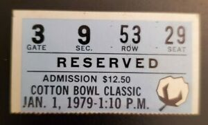 Cotton Bowl Football Ticket Stub 1979 Gate Check Notre Dame Houston Joe Montana