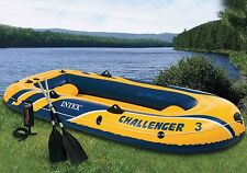 Intex Challenger 3 Boat Set Inflatable Raft with Pump and Paddles