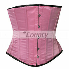 Underbust Pink Satin Corset Full Steel Boned Spiral Basque Heavy Lacing Shaper