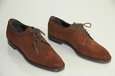 Manolo Blahnik Women's Lorenza Wingtip Suede Oxford Brown, Size 9