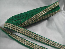 9mtr border lace trim, velvet green base, 3 row gold embroidery n sequins