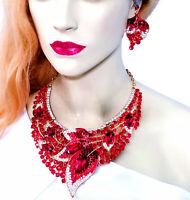 Choker Bib Necklace Earring Set Rhinestone Crystal Red