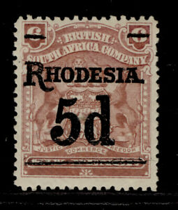 RHODESIA EDVII SG114, 5d on 6d reddish purple, M MINT. Cat £16.