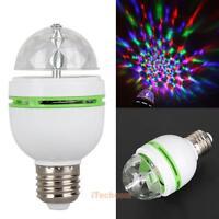 3W E27 RGB Crystal Ball Rotating LED Stage Light Bulbs Disco Party Bulb Lamp