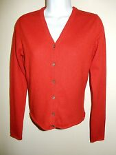 ANN TAYLOR 100% CASHMERE 2 PLY RED V-NECK LONG SLEEVES CARDIGAN SWEATER S
