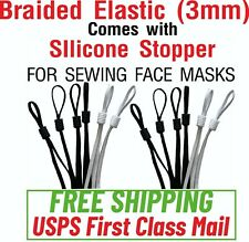 "20/50/100/500 - 1/8"" Braided Elastic with Silicone Stopper Face Mask Sewing DIY"