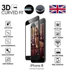 For iPhone 8 3D Curved Full Cover Screen Protector Tempered Glass Black / Clear