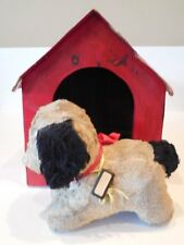Vintage STUFFED DOG w/ Old Metal DOG TAG & Red WOOD DOG HOUSE