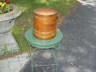 Primitive Antique Firkin or Sugar Bucket  Lidded   Banded
