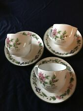 3 Royal Worcester Herbs Pattern Cups with Saucers