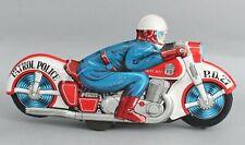 "Large 13"" Vintage 1950s HAJI Japan PD 27 Patrol Police Tin Motorcycle NO RESERVE"