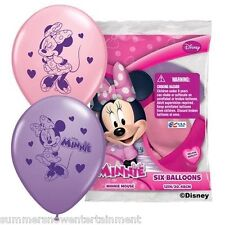 Minnie Mouse Helium Quality Latex Balloons 03017 6 pack 12 inch pink purple