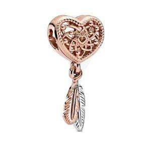 Pandora Charm Offenes Herz & zwei Federn Rosegold Silber Anhänger