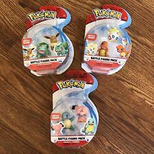 NEW Pokemon Battle Figure Set Lot of 3 EEVEE, CHARMANDER, SQUIRTLE 2pack Figures