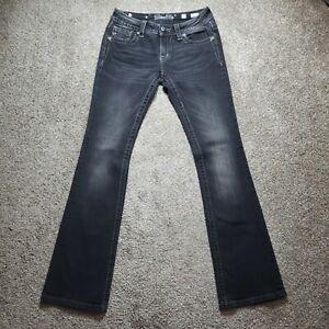 Miss Me Signature Boot Cut Black Denim Jeans Womens Actual Size 29x33.5