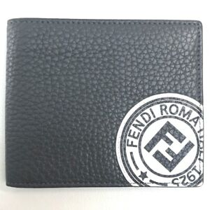 FENDI 7M0169 A4NR FF Logo Stamp Compact Bifold Wallet Calf Leather Gray