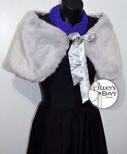 Light Grey Fur Wrap Fastens Ribbon Shawl Shrug Bride Wedding by Lucy's Envy W116