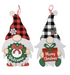 New (2) Christmas Gnomes Hanging Decor 13x8in Holiday Welcome & Merry Christmas