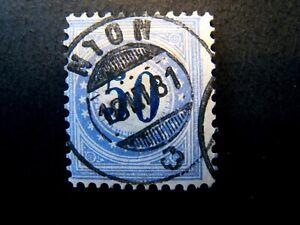 1878 Switzerland S# J7, type 1,  50 Centesimi Blue Postage Due Used Stamp