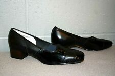 7.5 Nos Black Leather Patent Vtg 1960s 1970