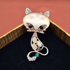 Rose Gold Plated Crystal Rhinestone Fox Shape Opal Pin Brooch