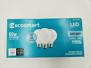 EcoSmart 60W LED DAYLIGHT White Frosted Glass 3 Pack-G25 Dimmable LED Light Bulb