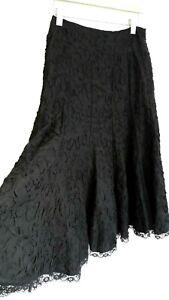 PHASE EIGHT maxi skirt size 10 long black elegant goth steampunk lace hem