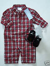 NWT Gymboree Holiday Pictures 0-3 Months Red Plaid Romper & Black Shoes 01