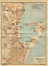 Antique map  Messina Italy / mappa antica Missina Italia 1929