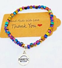 Rainbow Hematite Diabetic Medical Alert ID bracelet