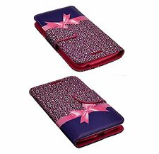ZTE GRAND X MAX Z787 PU Leather Flip Folio Wallet Pouch Case Stand Pink Bow