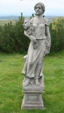 Rose Girl & Plinth Classic Stone Cast Garden Statue Ornament Including Delivery