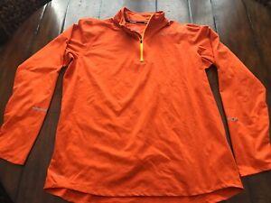 NIKE Element 1/4 Zip Running Run Shirt Men L LARGE Orange DRI FIT Reflective NEW