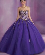 Purple/Gold Sweet 16/Quinceanera Dress (Size 10 but corset can make it smaller)