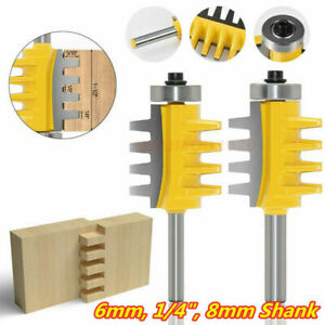 1/4in 6/8mm Shank T-shape Wood Milling Working Tenon Groove Router Drill Bit Set