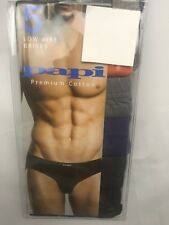 Papi Mens Underwear 5 Pk Medium Low Rise Brief Orange Blue Gray Cotton NEW