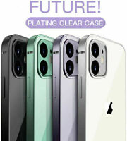 Ultra Thin Clear Case For iPhone 11 12 Pro Max 12 Mini Plating Bumper Shockproof