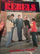 Ole Miss Rebels VS Tulane Program Nov. 1978 Hemingway Stadium