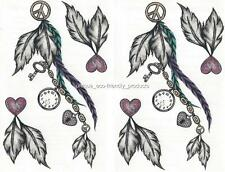 LOT 2 TRIBAL FEATHERS LOCK KEY CLOCK HEARTS LARGE SHEET Temporary Tattoo