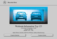 Mercedes Benz W123- Wis 123 Werkstatthandbuch- Reparaturhandbuch auf CD