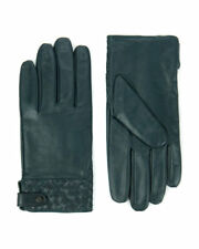 MEN'S TED BAKER DARK GREEN LEATHER GLOVES BNWT RRP £79 M-L WARM IDEAL 4 WINTER