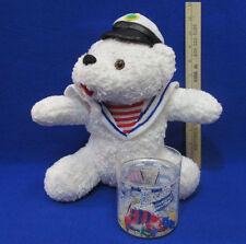 "Vintage 11"" Nautical Sailor Plush White Teddy Bear + Bonus Floating Flag Glass"