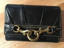 COACH Vintage Black Leather Tri-Fold  Wallet With Coin Purse And Key Fob